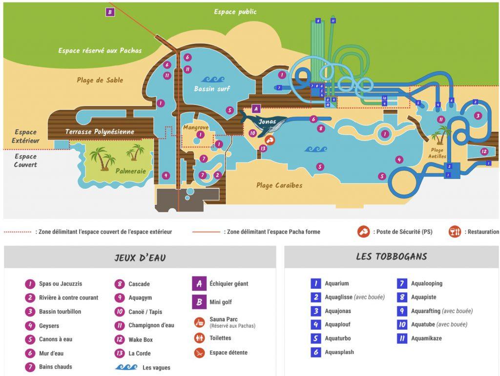 plan parc aquatique Aquaboulevard paris