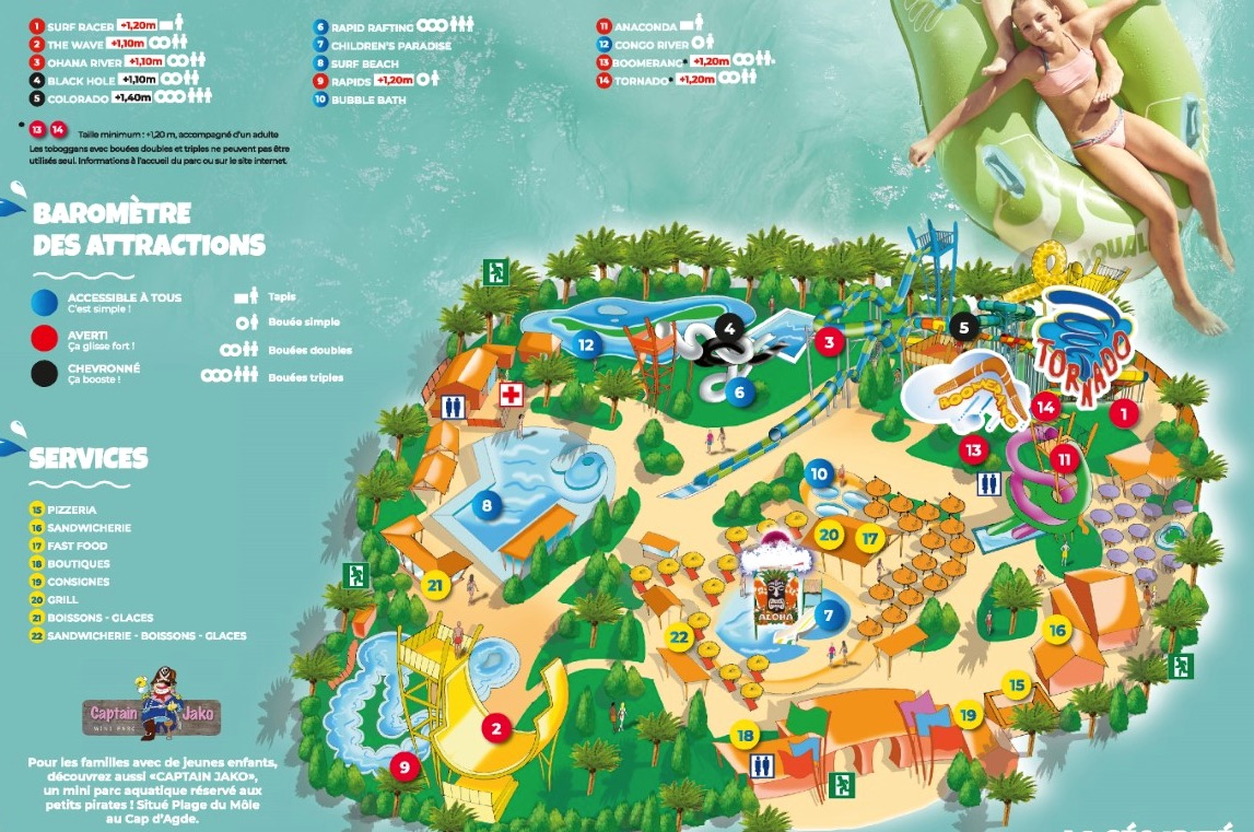 Plan Aqualand Cap d'Agde