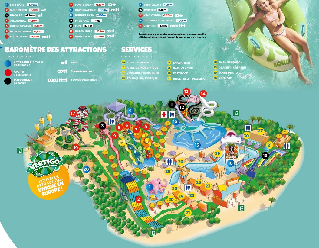 Plan du parc Aquatique Aqualand Frejus